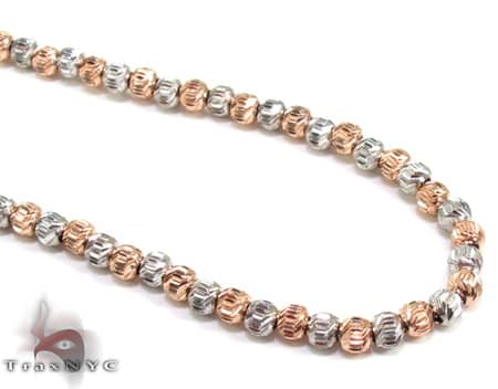 Two Tone Moon Cut Chain 24 Inches 2mm 14.4 Grams Gold