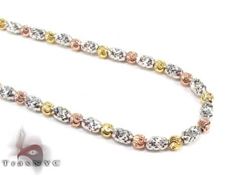 Three Tone Moon Cut Chain 22 Inches 2.5mm 14.9 Grams Gold