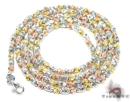 Three Tone Moon Cut Chain 16 Inches 2.5mm 10.9 Grams Gold