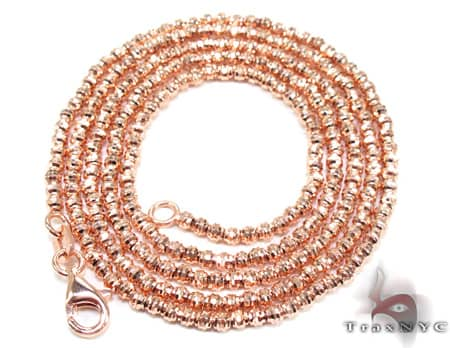 Rose Gold Moon Cut Chain 18 Inches 2mm 6.7 Grams Gold