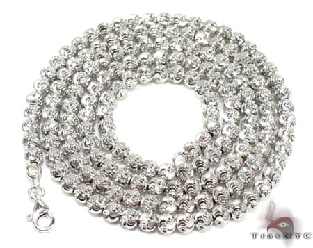 Moon Cut Chain 16 Inches 3mm 14.3 Grams Gold