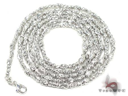 Thin Moon Cut Chain 40 Inches 2mm 15.8 Grams Gold
