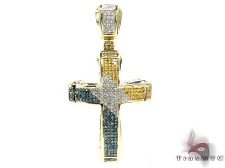 Small Tri Color Aristocrat Cross Mens Diamond Cross
