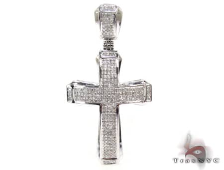 Small White Gold Aristocrat Cross Mens Diamond Cross