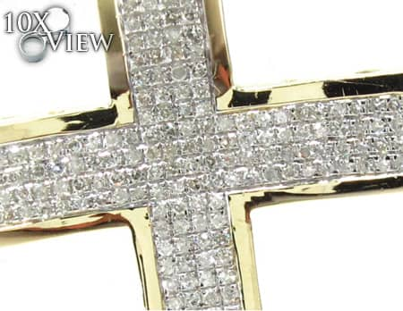 Small Yellow Gold Concave Cross Diamond