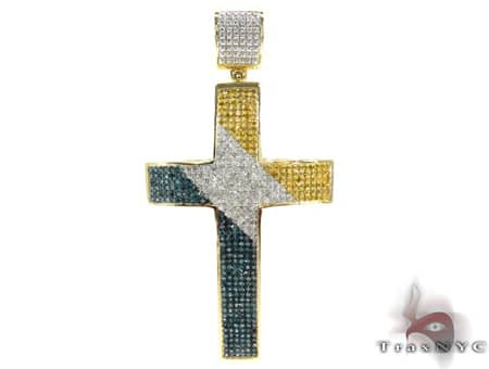 Tri Color Ultra Cross Mens Diamond Cross