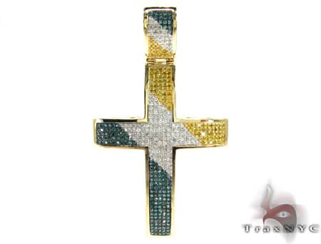 Tri Color Diamond Cross 19829 Mens Diamond Cross