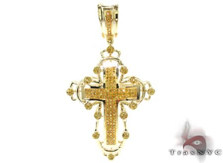 Canary Presidential Cross Mens Diamond Cross