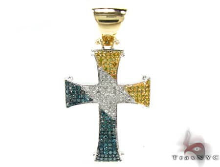 Tri Color Linnus Cross 2 Mens Diamond Cross