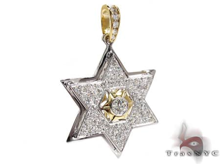 Diamond Star of David Pendant Metal