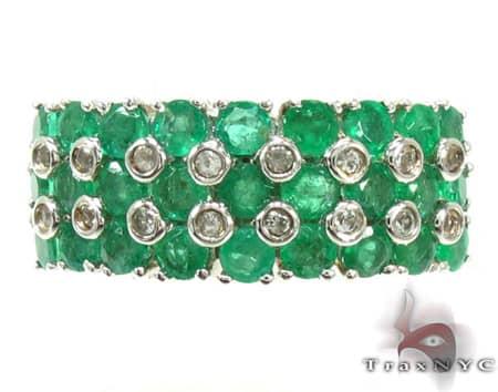 Ladies Silver & Emerald Ring 19969 Anniversary/Fashion