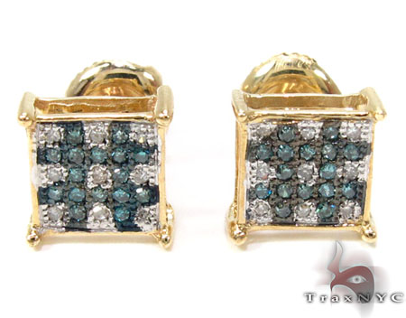 2 Color Diamond Earrings 21739 Mens Diamond Earrings