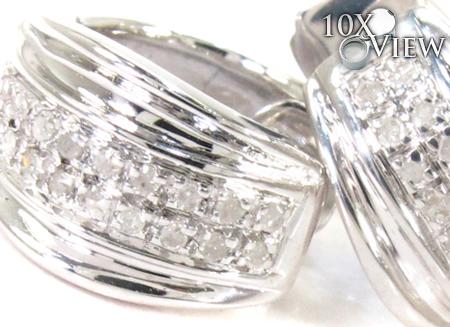 2 Row Diamond Silver Hoop Earrings 27325 Metal