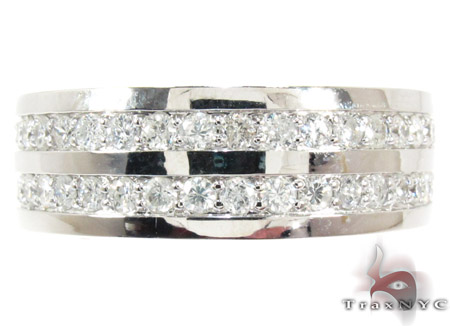 2 Row White Gold Round Cut Prong Diamond Wedding Ring Stone