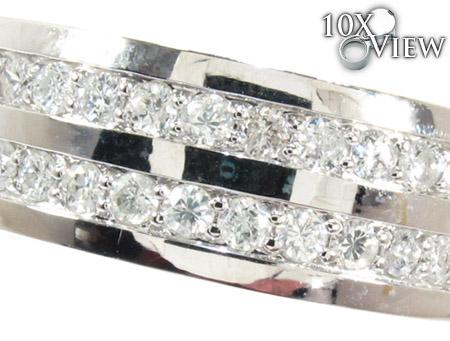 2 Row White Gold Round Cut Prong Diamond Wedding Ring Stone