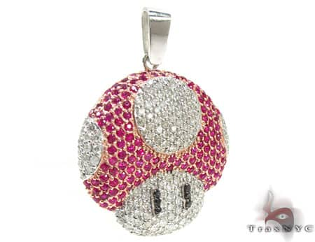 Custom Jewelry - Super Mushroom Diamond Pendant 20122 Metal