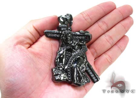 Black Silver Crucifixion Pendant 20237 Metal