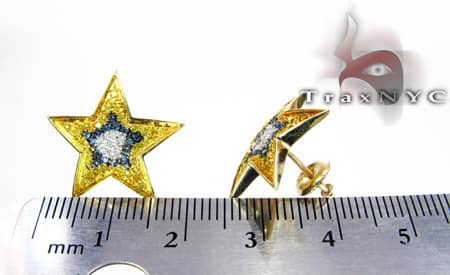 Hip Hop Jewelry - 3 Tone Star Earrings Stone
