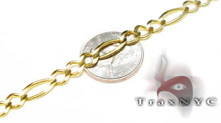 Figaro Link Chain 26 Inches, 7mm, 27.4 Grams Gold