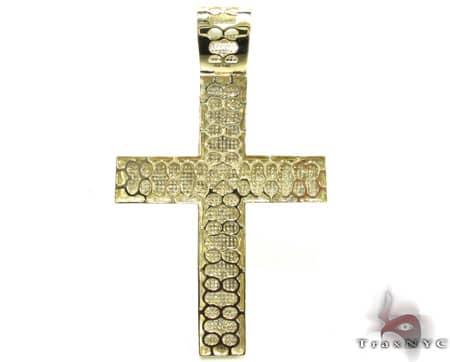 Yellow Gold XL Pave 14K Cross Diamond