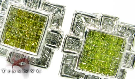 Canary Baguette Cross Earrings Stone