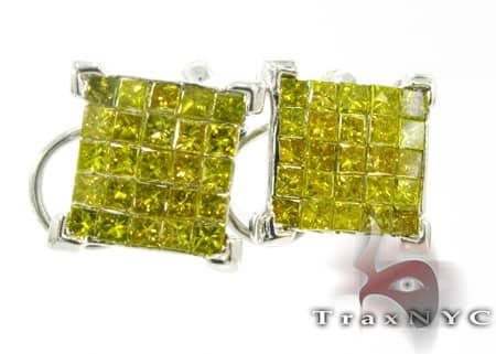 Canary Corner Earrings Mens Diamond White Gold 14k 3 90c