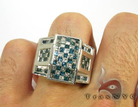 Deep Blue Checkered Ring Stone