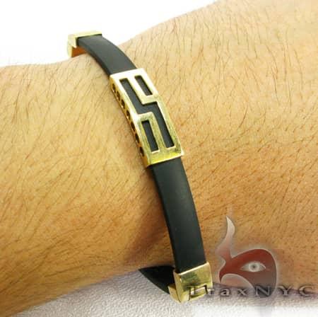 Yellow Gold & Rubber Bracelet XL 2 Gold