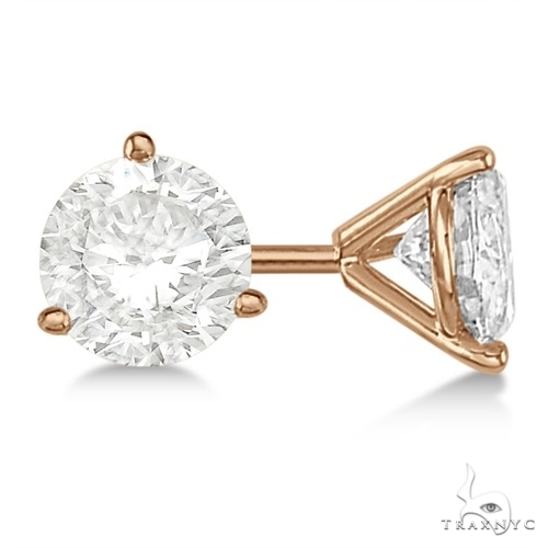 3-Prong Martini Diamond Stud Earrings 18kt Rose Gold G-H, VS2-SI1 Stone