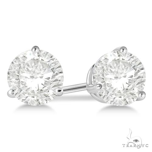3-Prong Martini Diamond Stud Earrings 18kt White Gold G-H, VS2-SI1 Stone
