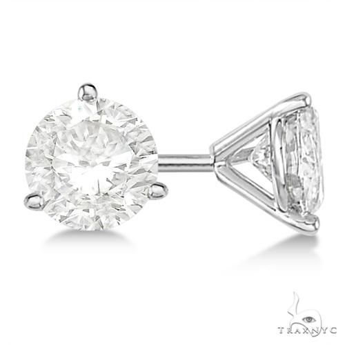 3-Prong Martini Diamond Stud Earrings 18kt White Gold H, SI1-SI2 Stone