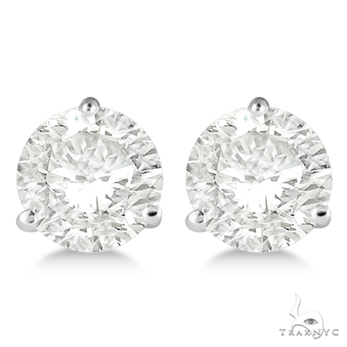 3-Prong Martini Diamond Stud Earrings 18kt White Gold H, SI1-SI2 Stone