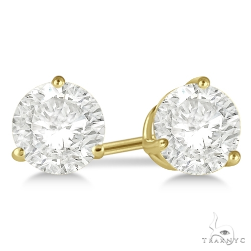 3-Prong Martini Diamond Stud Earrings 18kt Yellow Gold G-H, VS2-SI1 Stone