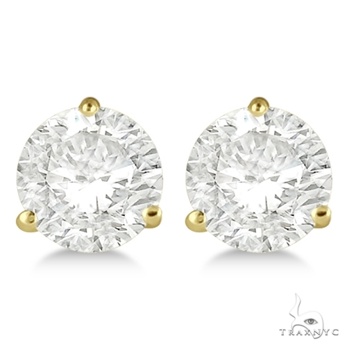 3-Prong Martini Diamond Stud Earrings 18kt Yellow Gold H-I, SI2-SI3 Stone