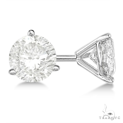 3-Prong Martini Diamond Stud Earrings Platinum G-H, VS2-SI1 Stone