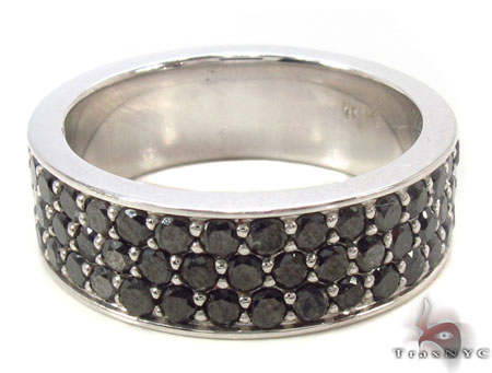3 Row Black Diamond Ring 2 Stone