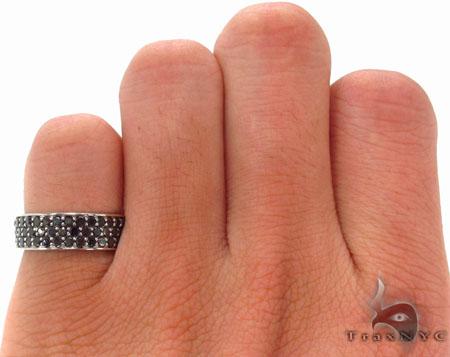 3 Row Black Diamond Ring 2 Stone