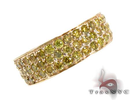 3 Row Canary Color Diamond Ring 2 Stone