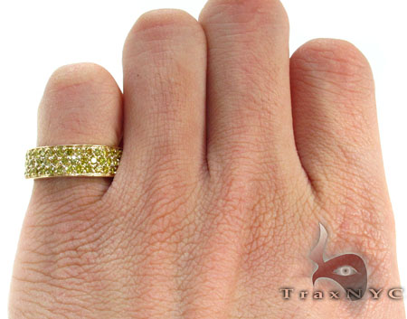 3 Row Canary Color Diamond Ring 2 Stone