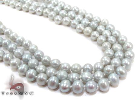3 Row Emerald Color Pearl Silver Necklace 27613 Pearl