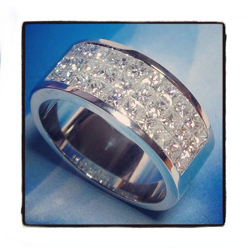3 Row Invisible Diamond Ring Mens Hip Hop Ring White Gold 14k