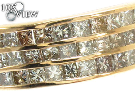 3 Row Princess Cut Diamond Ring Stone