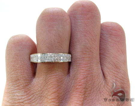 3 Row Princess Cut Invisible Diamond Ring Stone