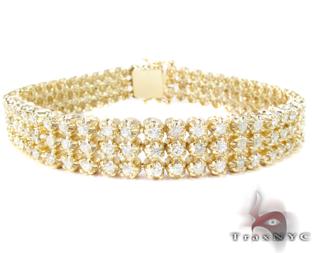 3 Row Toni Bracelet Mens Diamond Bracelet Yellow Gold 14k
