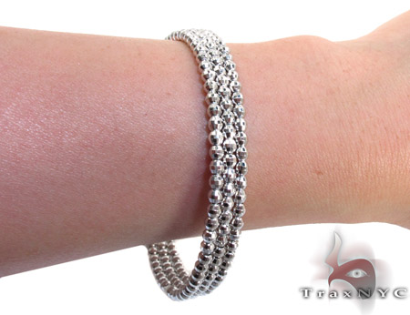 3 Row White Silver Bracelet Silver & Stainless Steel