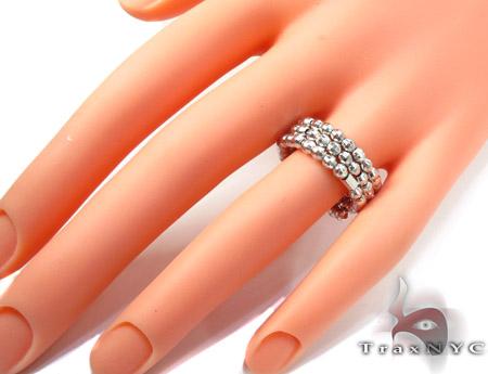 3 Row White Silver Ring Anniversary/Fashion