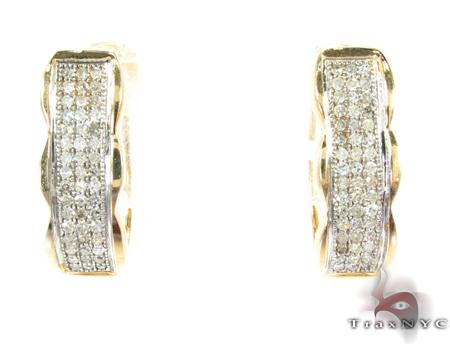 3 Row Yellow Gold Diamond Hoop Earrings Style