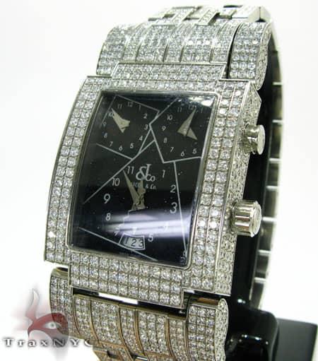 Mens JACOB & Co. Black Dial Diamond Watch Hip Hop ダイヤモンド 時計