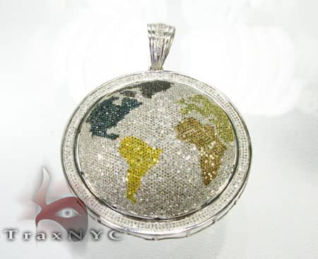 Hip Hop Jewelry - World Round Cut Pendant Metal