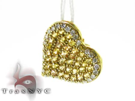 Mini Yellow Sapphire & Diamond Heart Pendant Stone